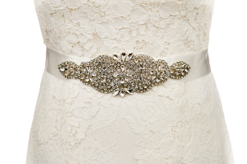 vintage,wedding dress belt,sash,ivory sash,silver,sparkle,bridal