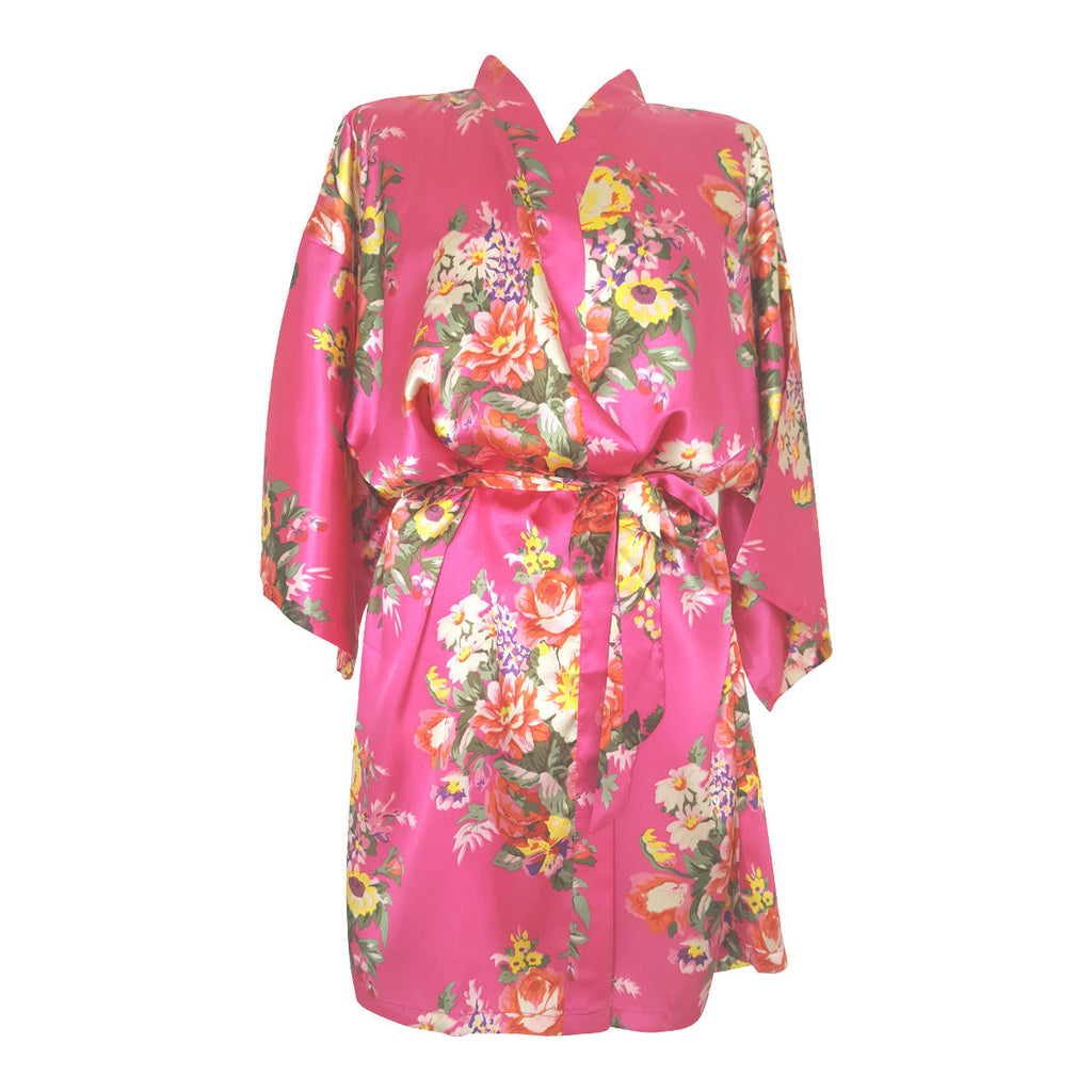 Cerise Pink Floral Satin Dressing Gown *NOW 20% OFF*