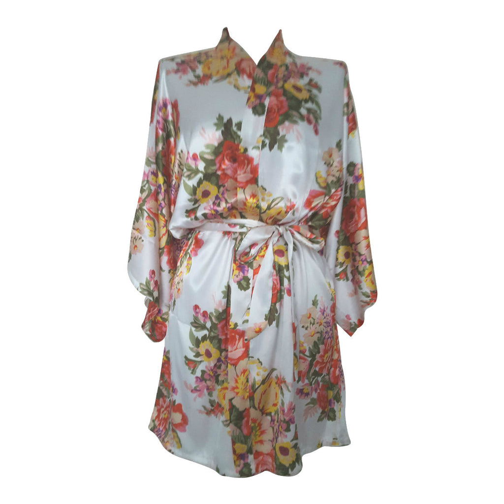 ivory satin floral bride to be dressing gown