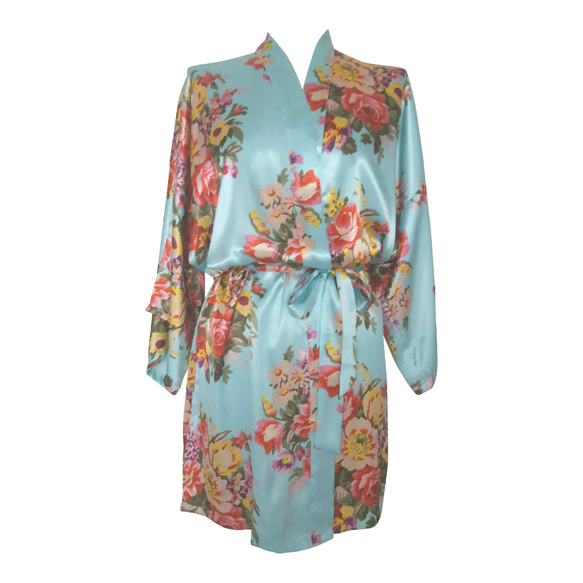 Blue kimono bridal robe perfect for bridesmaids – The Bridal Outlet