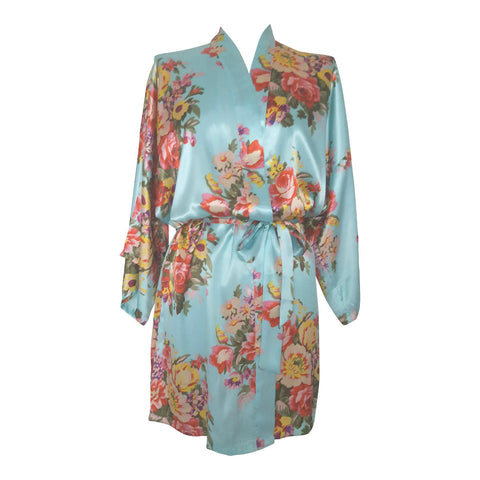 Pale Blue Floral Satin Dressing Gown