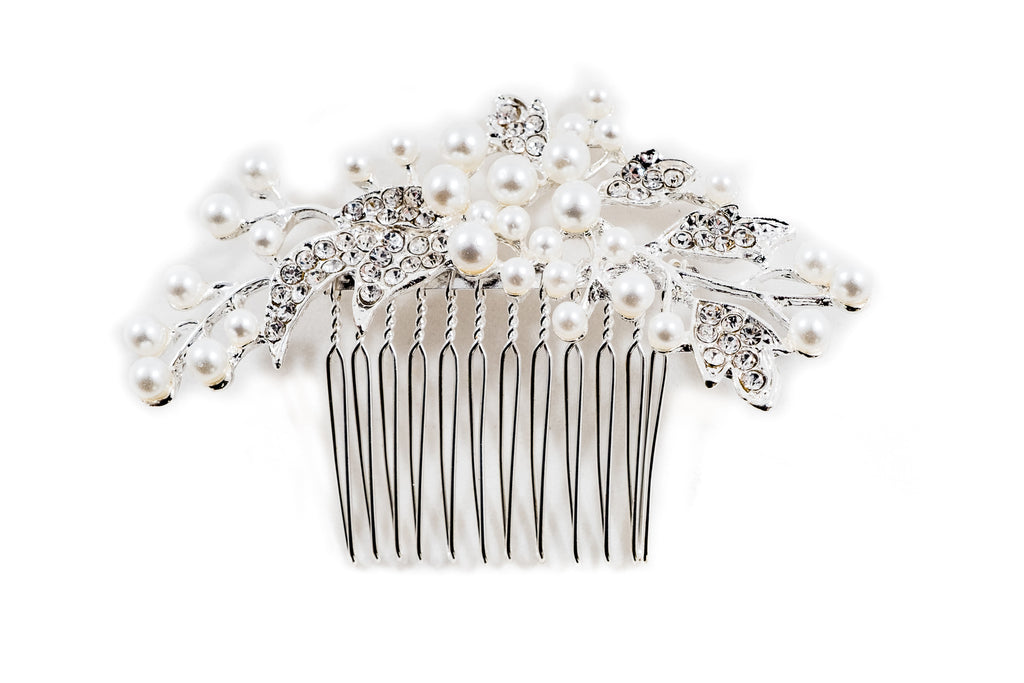 Pearl Silver Bridal Headpiece Brooke *NOW 30% Off*