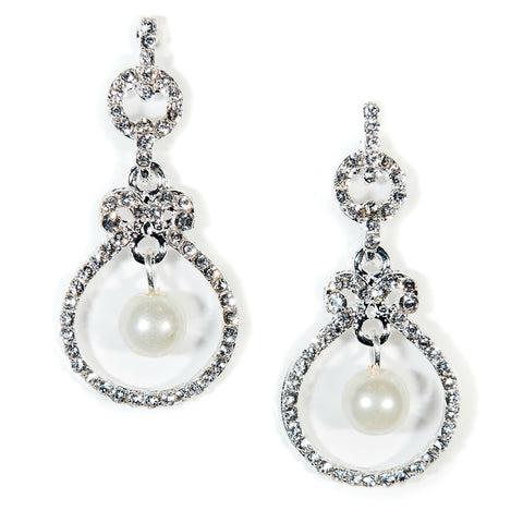 silver pearl dangle earrings bridal