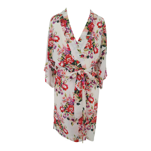 childrens dressing gown ivory floral flower girl