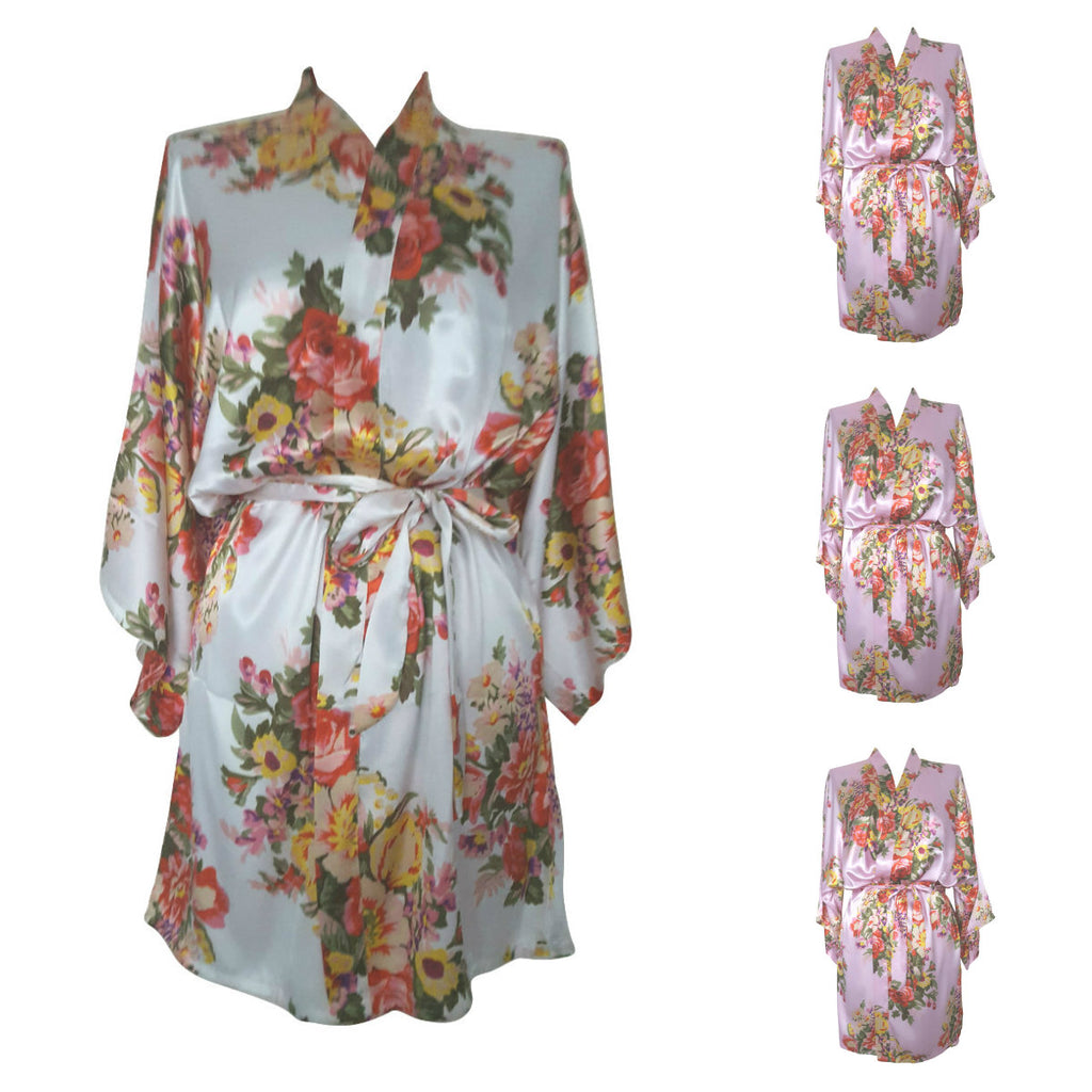 Multi Pack Bridesmaid Bride Robes Dressing Gowns Floral Satin Pink
