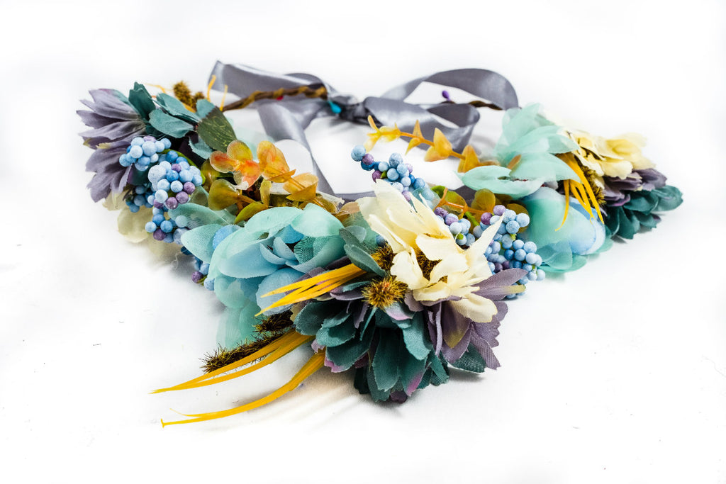 blue flower crown festival wedding