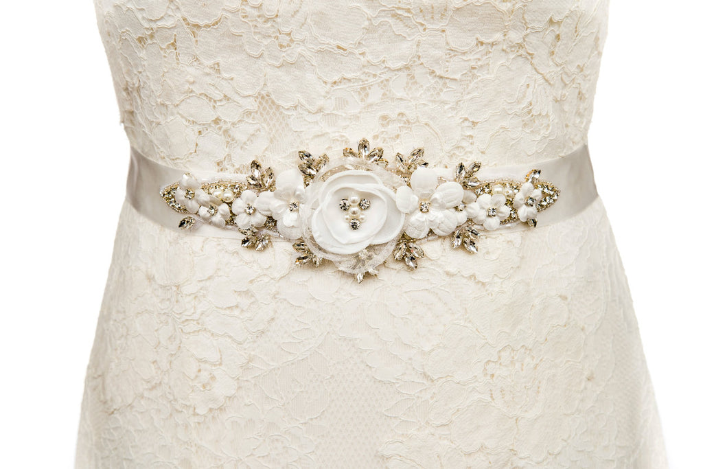 floral,flower,wedding belt,bridal sash,ivory,vintage
