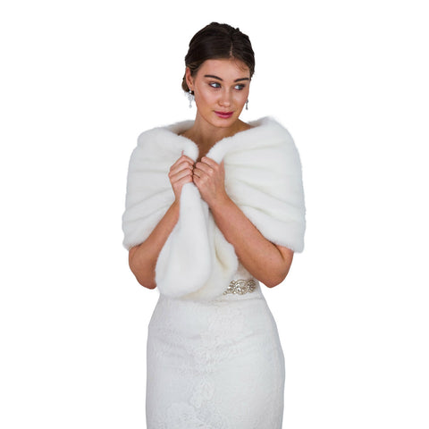 fur wrap bridal wedding ivory shrug white bride bridesmaids