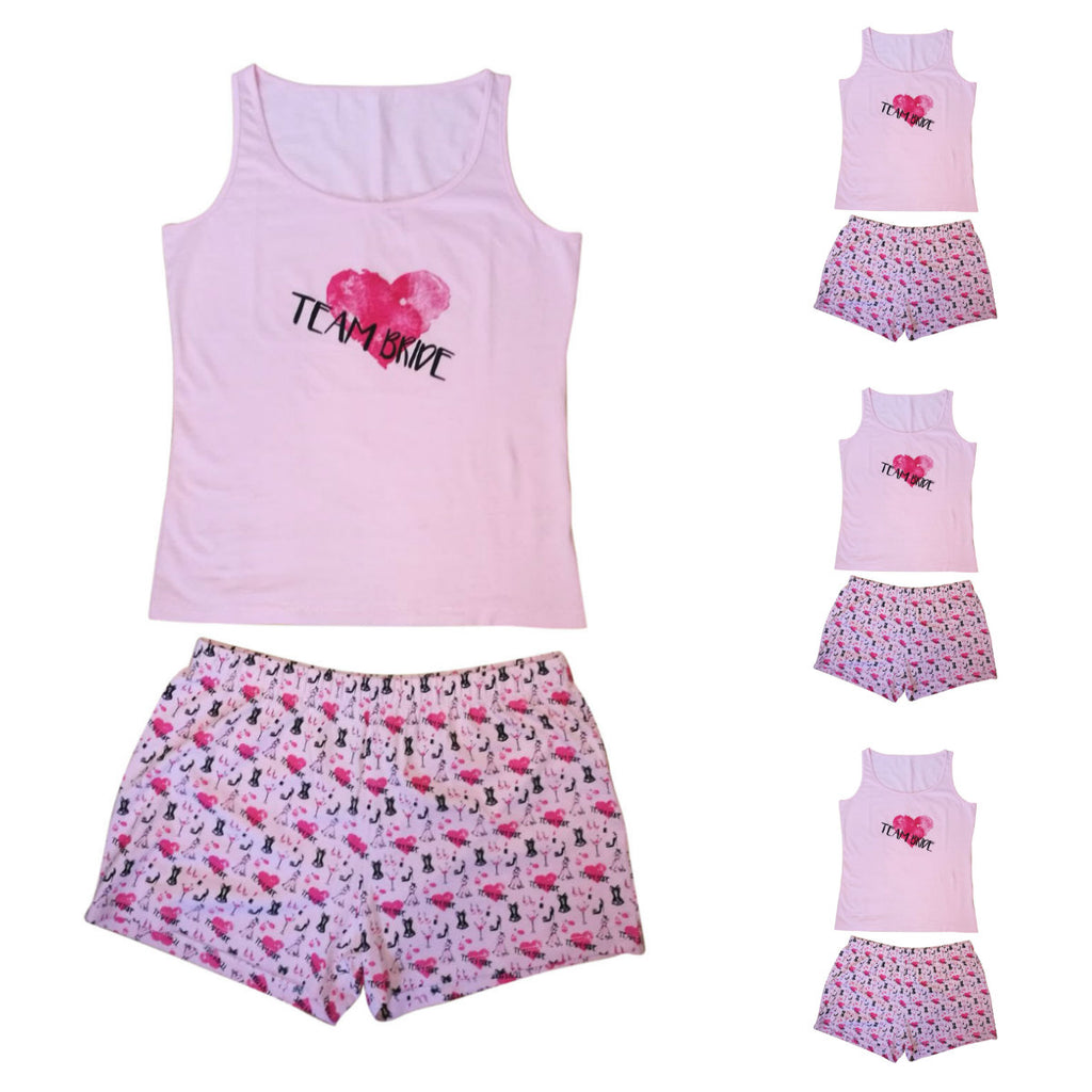 multipacks team bride pjs pyjamas pink vest & shorts