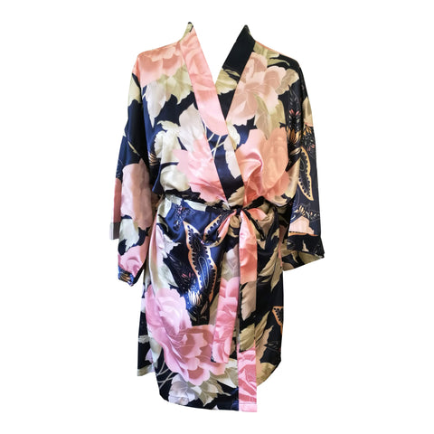 Navy Blue Vintage Floral Satin Dressing Gown