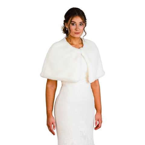 faux fur bridal cape wedding shawl jacket