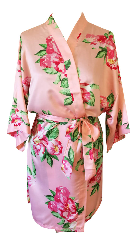 peach bridesmaid kimono wrap bride wedding