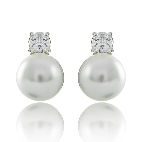 Bridal Earrings Pearl Studs Silver Camilla
