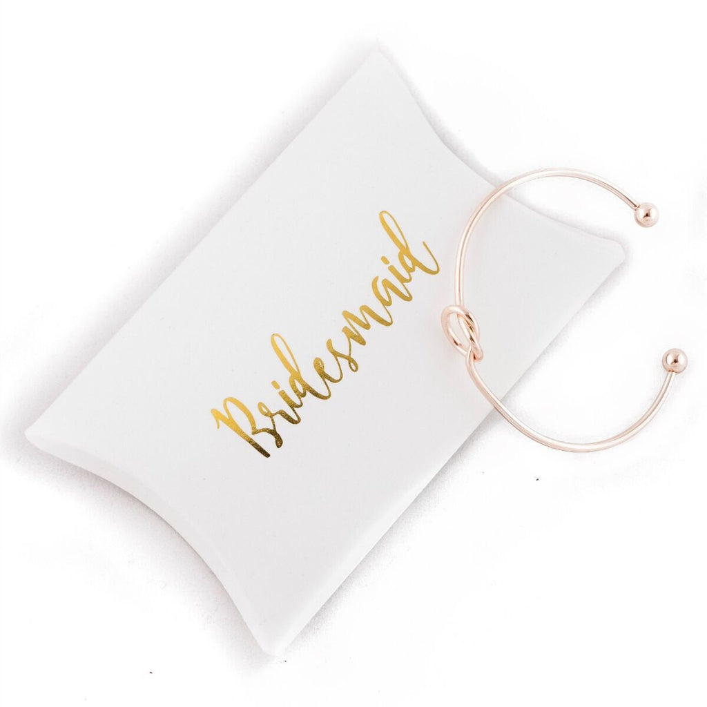 Bridesmaid Gift Gold Knot Bracelet with Box