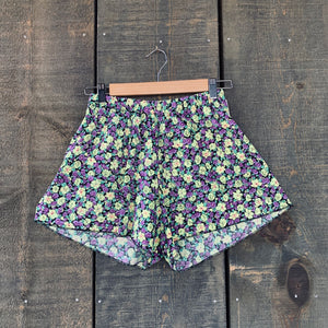 Retro High-Waisted Floral Shorts