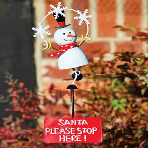 Snowman Stop Here Stake