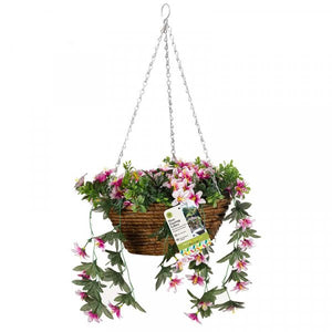 Artificial Star Gazing Lily Hanging Basket