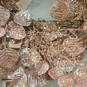 Rose Gold Glittered Eucalyptus Leaf Wreath
