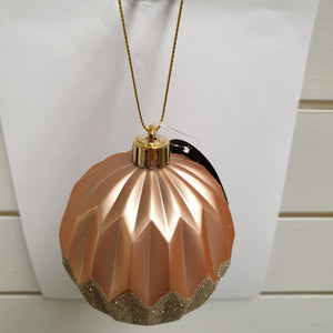 Soft Rose Gold Bauble with Gold Glitter
