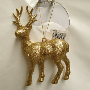 Glittered Mini Reindeer Decoration