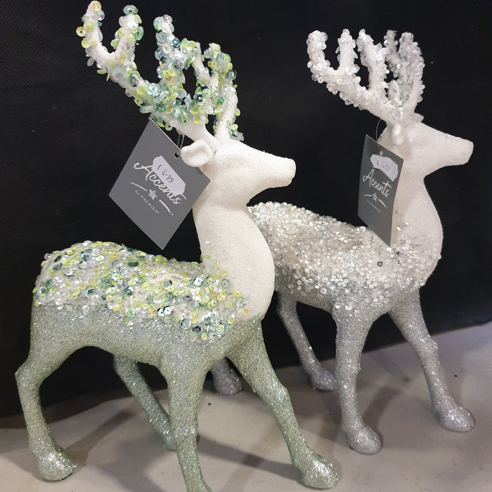 Two Tone Beaded Sequin Reindeer