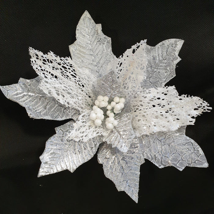 Silver and White Lace Clip On Poinsettia