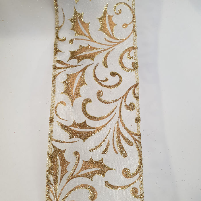Gold Ribbon with Gold Glitter Holly 2.7m