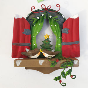 Fairy Kingdom Christmas Window with Robins