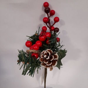 Red Berry & Pinecone 24cm Pick