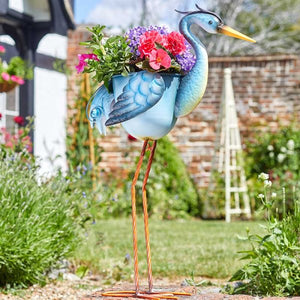 Metal Heron Planter