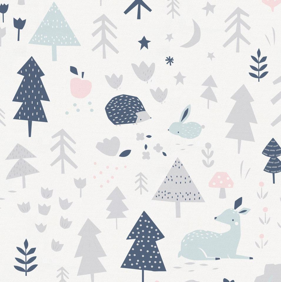 Gray and Pink Baby Woodland