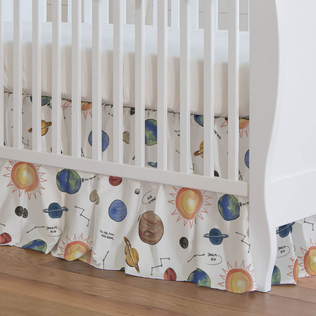 Product image for Solar System Crib Skirt Gathered