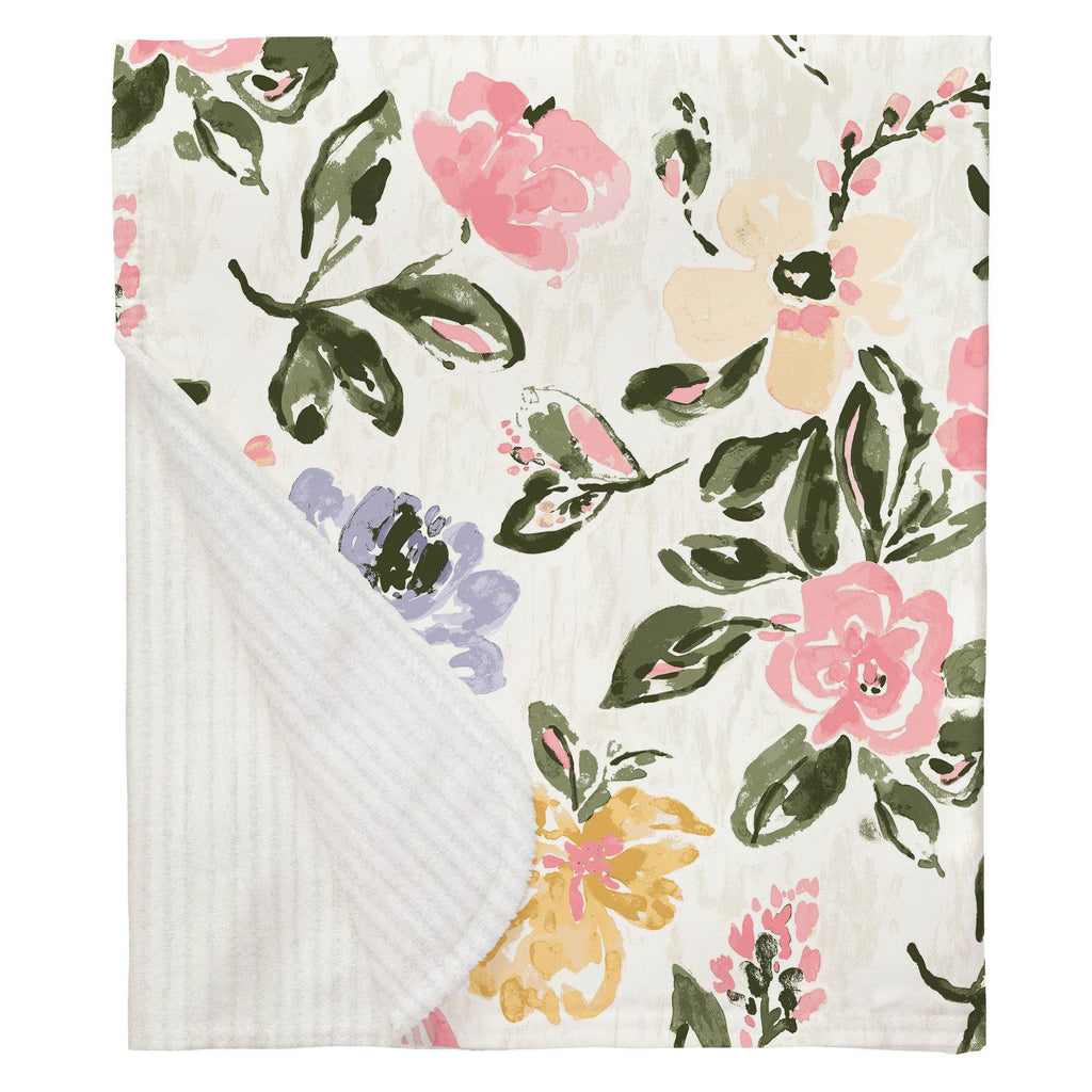 Product image for Coral Pink Garden Baby Blanket