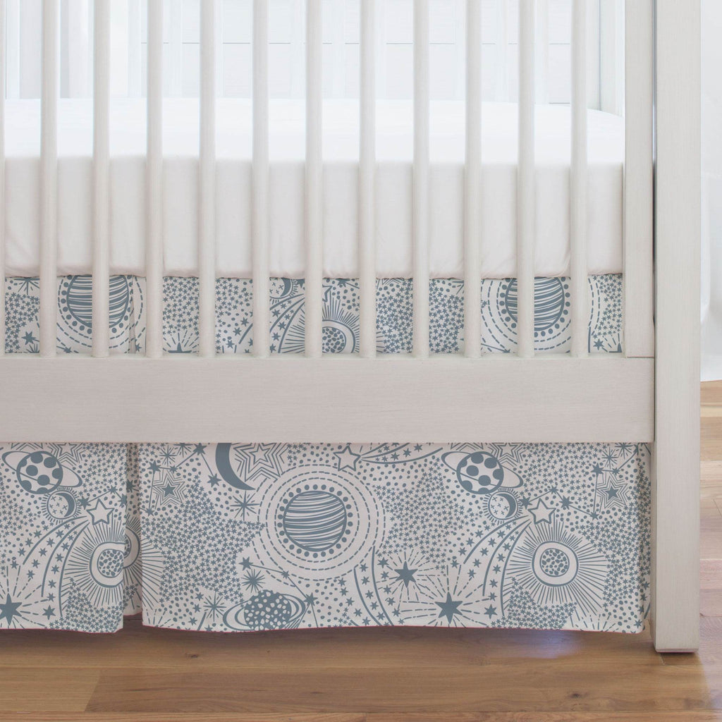 Product image for Steel Blue Galaxy Crib Skirt Single-Pleat
