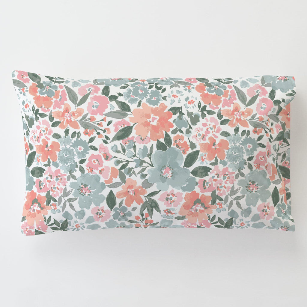 Product image for Peach Prairie Floral Toddler Pillow Case with Pillow Insert
