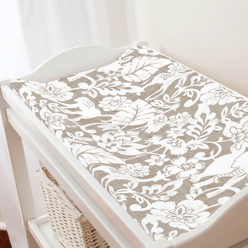 Product image for Taupe and White Jungle Changing Pad Cover