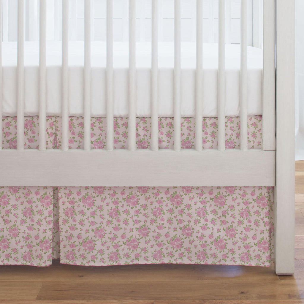 Product image for Pink Rosettes Crib Skirt Single-Pleat