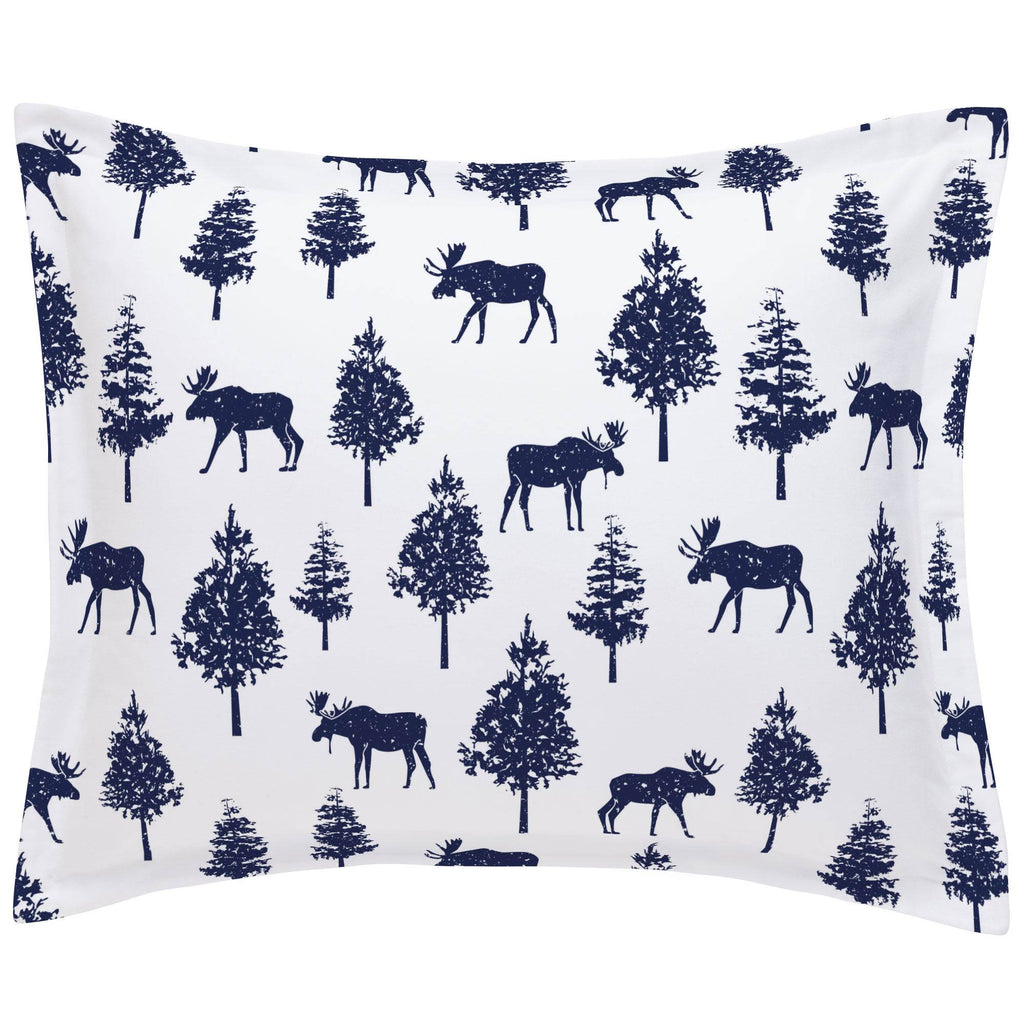 Product image for Navy Moose Pillow Sham