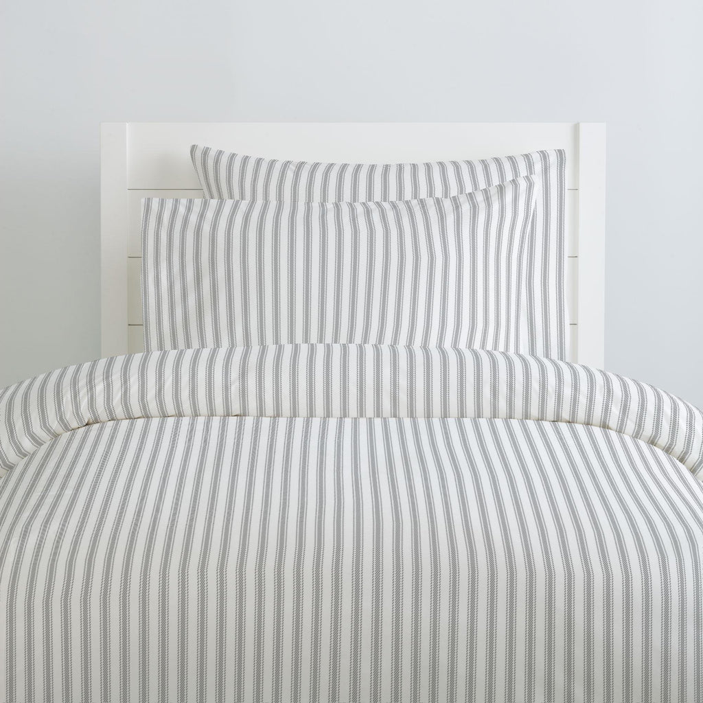 Product image for Cloud Gray Ticking Stripe Duvet Cover