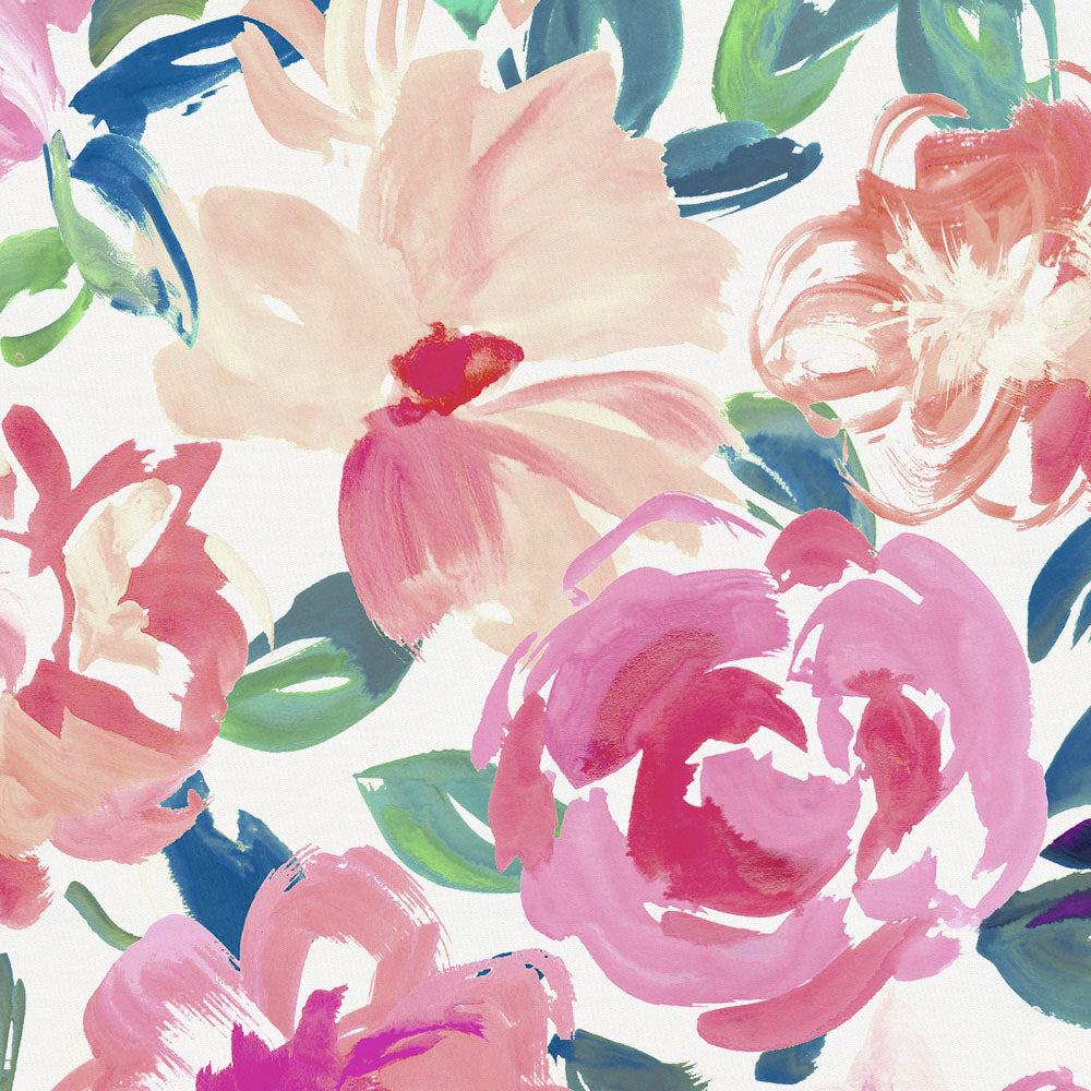 Product image for Pink Brushstroke Floral Fabric