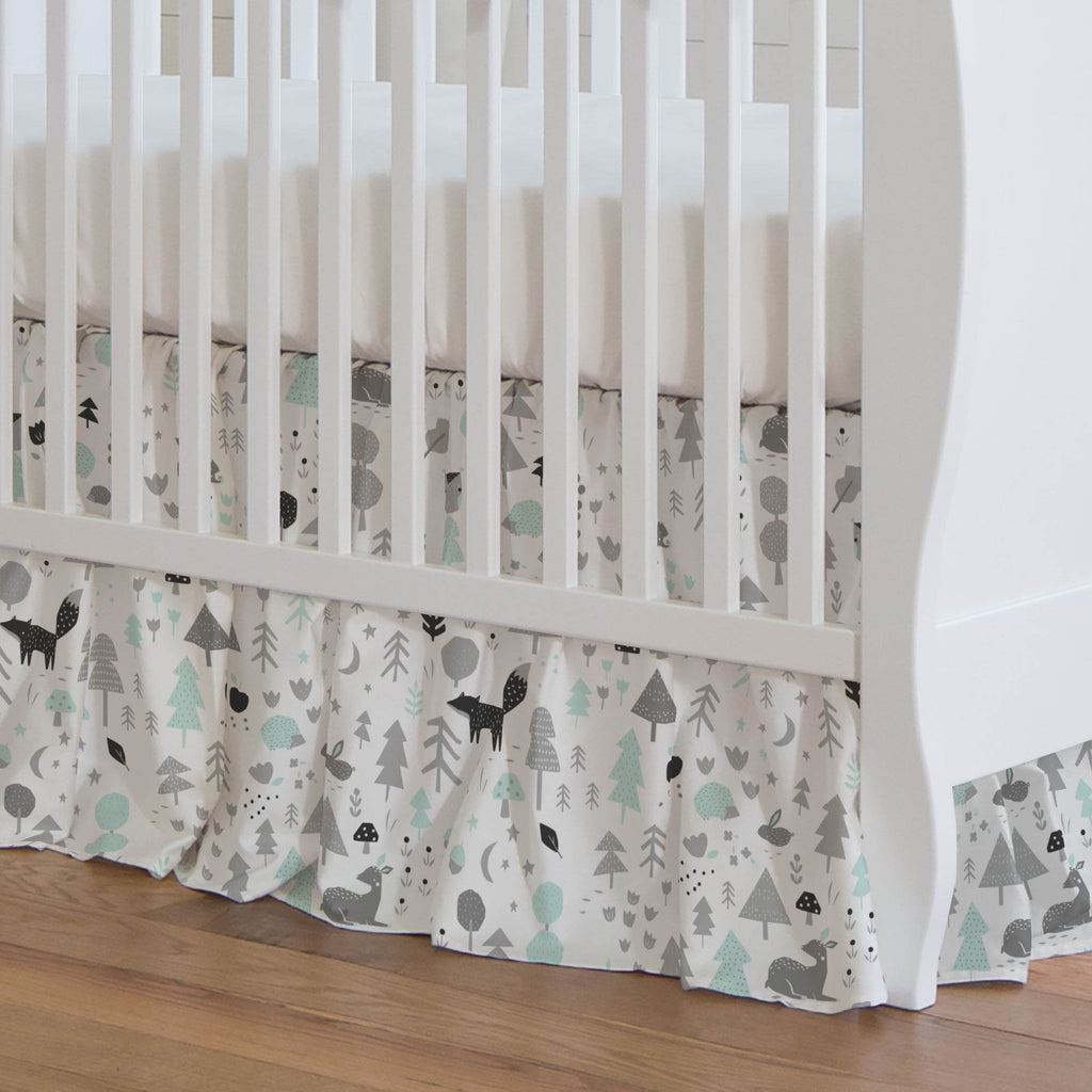 Product image for Icy Mint and Silver Gray Baby Woodland Crib Skirt Gathered