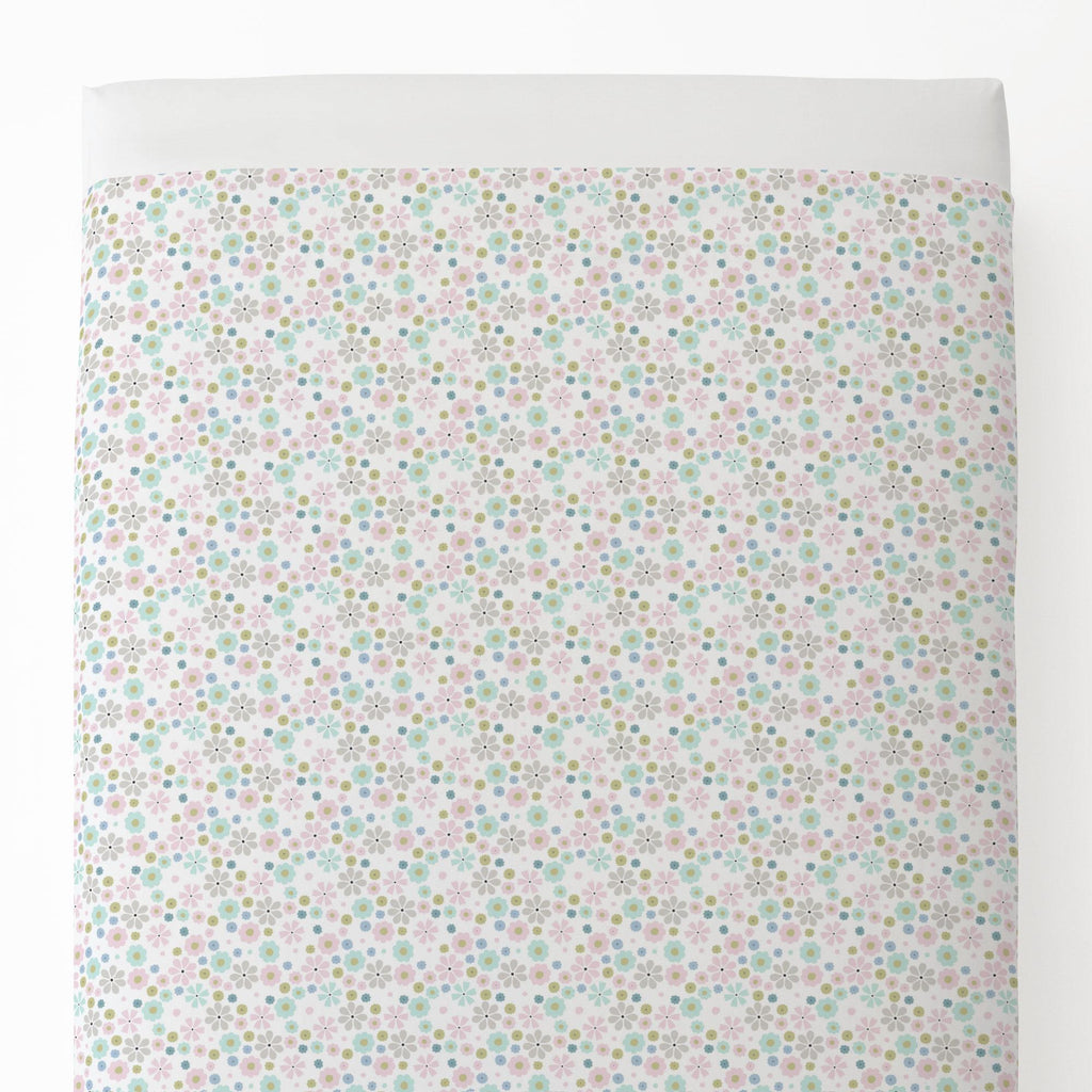 Product image for Pink Spring Flowers Toddler Sheet Top Flat