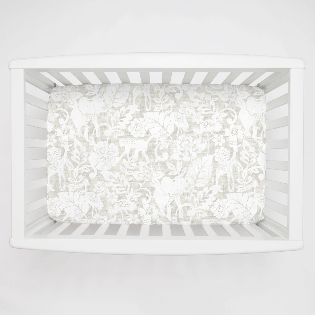 Product image for French Gray and White Jungle Mini Crib Sheet