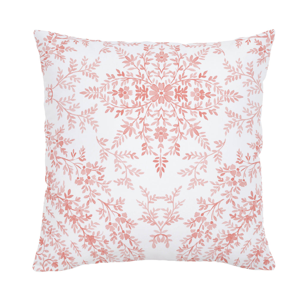 Product image for Light Coral Floral Damask Throw Pillow