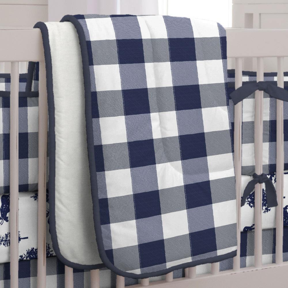 Product image for Navy and White Buffalo Check Crib Comforter with Piping