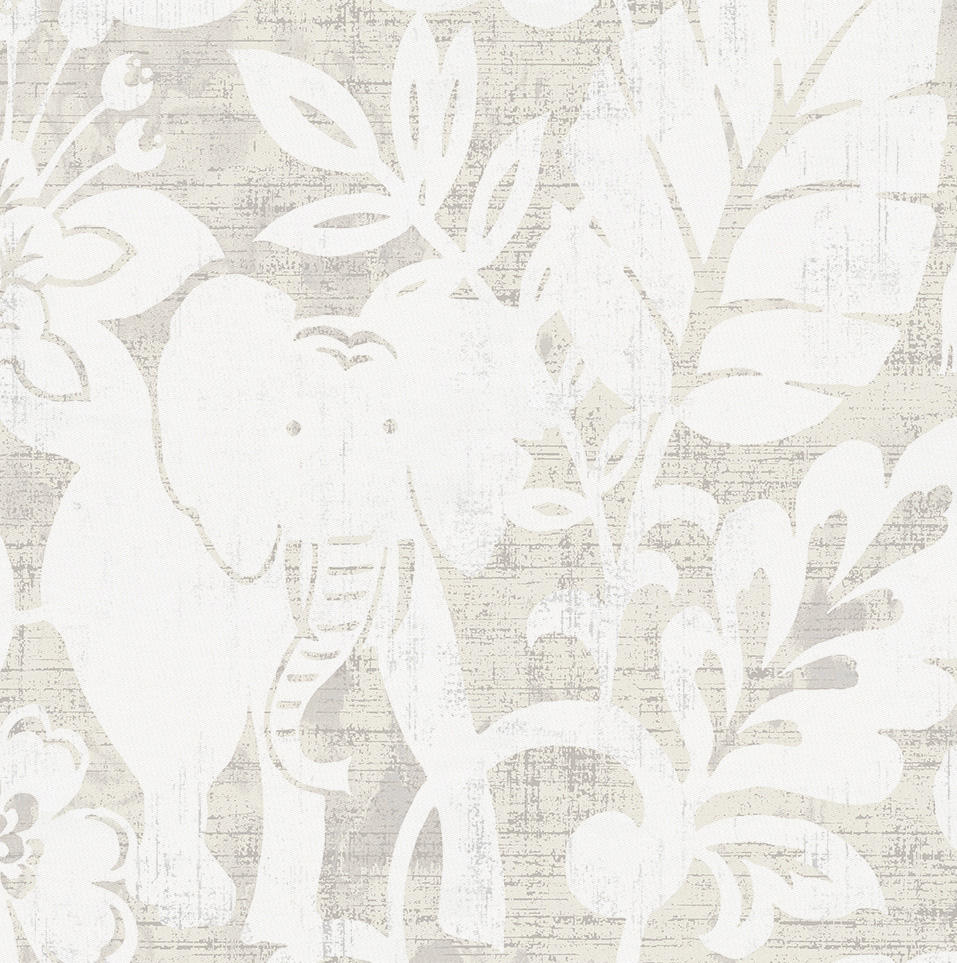 Product image for French Gray and White Jungle Fabric