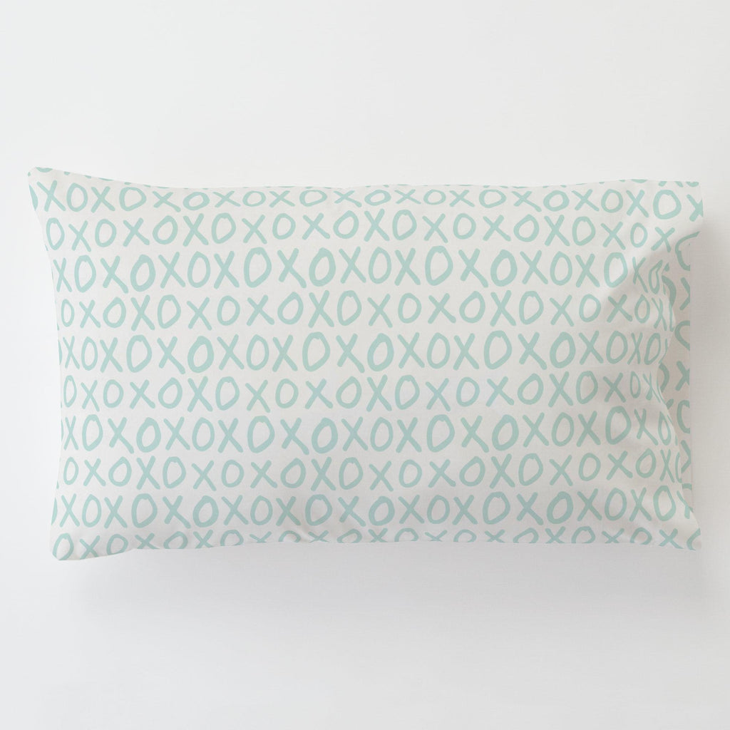 Product image for Icy Mint XO Toddler Pillow Case with Pillow Insert