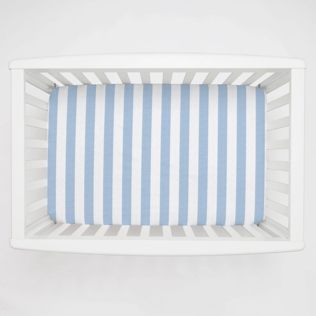 Product image for Blue Giddy Stripe Mini Crib Sheet