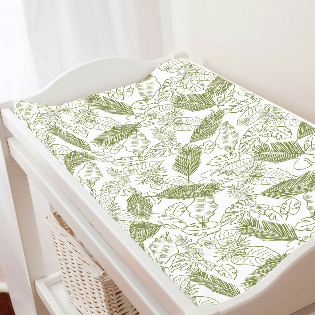 Product image for Sage Palm Leaves Changing Pad Cover