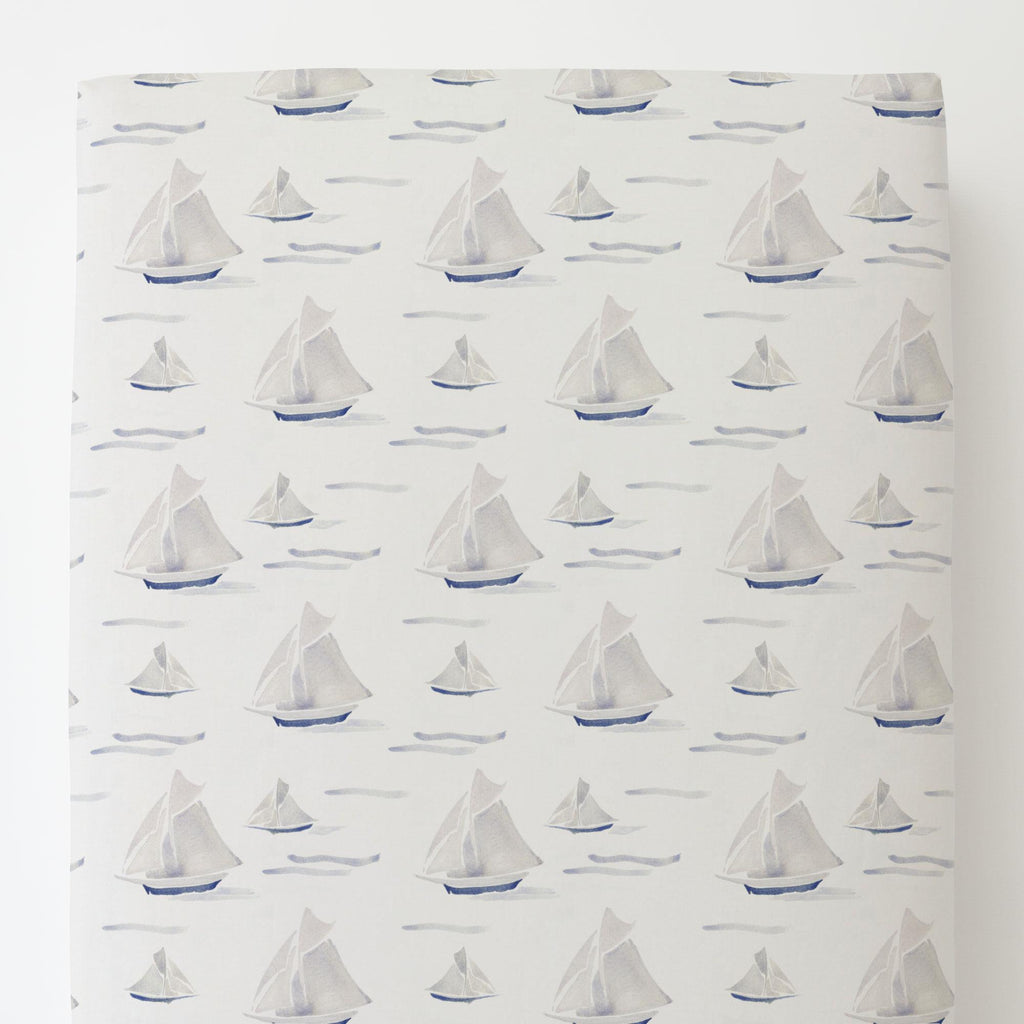 Product image for Watercolor Sailboats Toddler Sheet Bottom Fitted